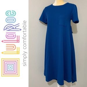 LuLaRoe Carly Solid Blue High Low Dress Sz Small